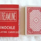 Pinochle Red Streamline Deck Playing Cards Arrco Linen Finish Vintage