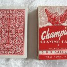 Vintage Deck Playing Cards Champion Red & White Arrco Linen Finish