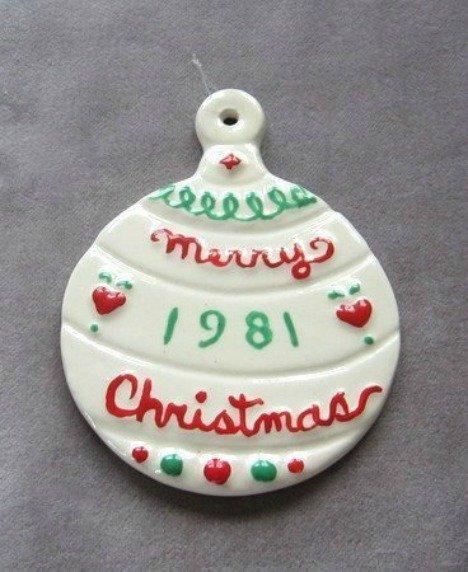 Handmade Ornament Merry Christmas 1981 Ceramic Holiday