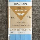 Wrights Light Blue Flexicloth Bias Tape Single Fold Cotton Vintage Sewing Supplies 5 Yards