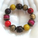 Colorful Beaded Bracelet Purple Gold Fushia Red Yellow