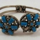 Turquoise Color Stone Bracelet Spring Hinged Vintage Needs Stone