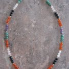 Colorful Vintage Handmade Gemstone Semi Precious Beaded Necklace Silver Clasp