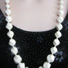 Vintage Ivory Cream Colored Beaded Necklace Retro 1970's
