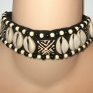Large Black & White Beaded Natural Shell Choker Necklace Handcrafted