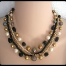 Vintage Multiple 5 Strand Beaded Necklace Black Glass Gold Iridescent Retro Japan 50's