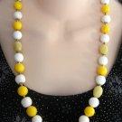 Vintage Beaded Necklace Handmade Yellow & White Retro 50's