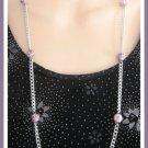 Purple & White Ceramic Splash Bead Necklace Vintage 1970's