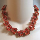Vintage Red Flower Rhinestone Necklace Unique 1940's