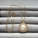 Rhinestone Pearl Pendant Necklace Signed Roman Monet Vintage Designer