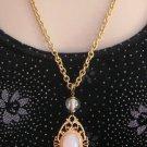 Vintage Cabochon Glass Bead Pendant Necklace By Designer Express Retro 80's