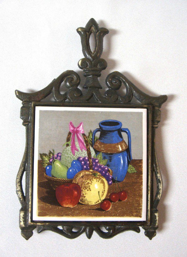 Ceramic Trivet Bronze Cast Iron Vintage Retro Lugene's Japan