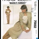 Vintage 1982 McCall's Sewing Pattern #7982 Make It Tonight Jacket Skirt & Pants Misses Size 10
