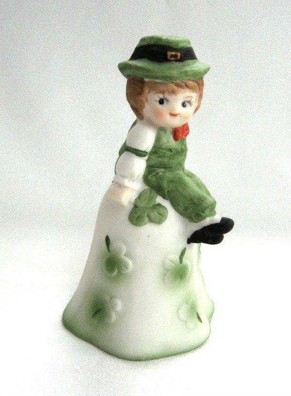 Collectible Vintage Bell Little Boy Shamrock St. Patrick's Day Irish 1970's Porcelain