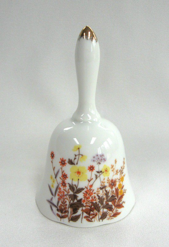 Vintage Retro Flowers Porcelain Ringing Bell Made in Japan