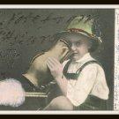 Early 1900's German Antique Postcard Ben Franklin 1 Cent Stamp