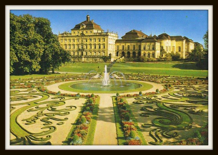ludwigsburg palace germany vintage postcard 1970s. Black Bedroom Furniture Sets. Home Design Ideas