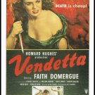 1950 Howard Hughes Vendetta Movie Poster Large Postcard Vintage 1989 The Great Trash Films