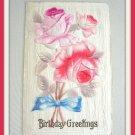 Antique Embossed Flower 1912 Postcard Birthday Greetings Vintage
