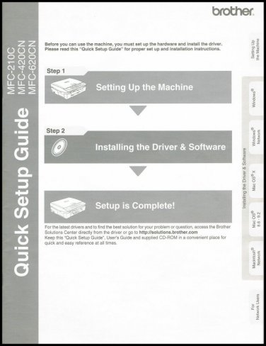 Brother Quick Setup Guide Manual MFC-210C MFC-420CN MFC-620CN Printer Fax Scanner