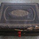 Antique Embossed Ornate Box Red Bakelite Handles 1900's Vintage
