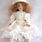 Porcelain Girl Doll Fancy Clothes Dress Jointed Strawberry Blonde Curly Hair