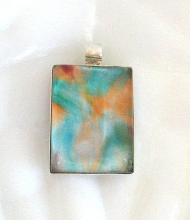 Large Dichroic Glass Stone Pendant Sterling Silver 925 Funky Colors Aqua Orange