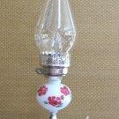 "Hurricane Lamp White Milk Glass Flower Design Electric 60 Watt Vintage Retro 1960's 17"" Tall"