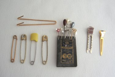 Lot of Vintage Hat Pins Stick Pins Sewing Needles Safety Pins Old 44 items Shul-Sons England