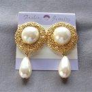 Large Chunky Cabochon Pearl Teardrop Dangle Earrings Gold Filigree Retro Vintage