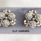 White Flower Rhinestone Clip On Earrings Vintage 1950s Retro