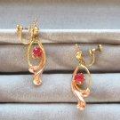 Pink Stone Dangle Two Tone Rose & Yellow Gold Earrings 12K Designer Van Dell Retro 1940s Vintage