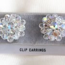 Sparkly Crystal Aurora Borealis Beaded Clip On Earrings Handcrafted Retro 1950s Vintage
