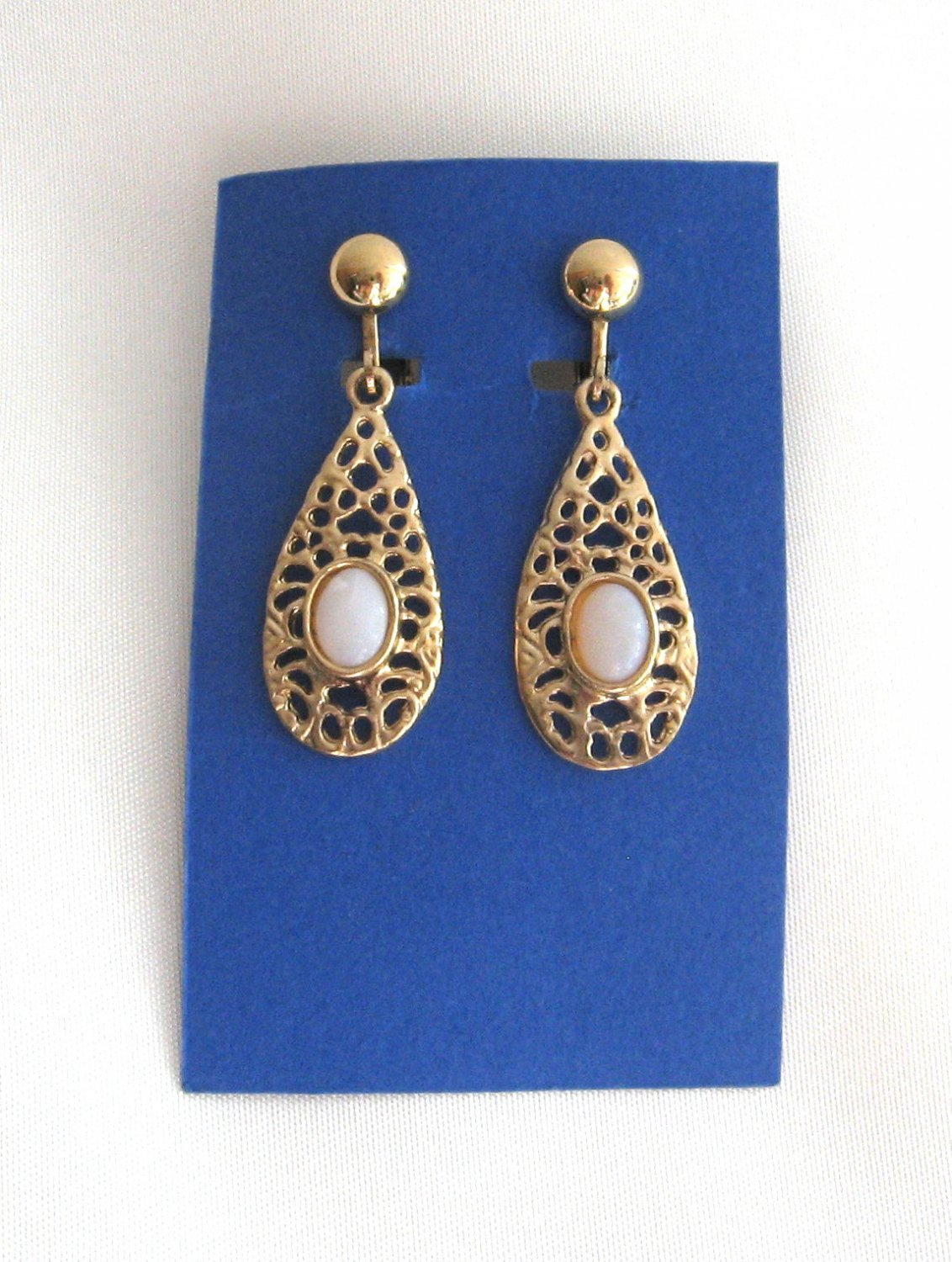 Gold Oval Opal Style Cabochon Dangle Clip On Earrings Vintage