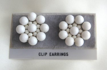 White Beaded Clip On Earrings Japan Retro 1950s Vintage