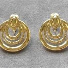 Gold Triple Hoop Circles Clip On Earrings Vintage 1980s
