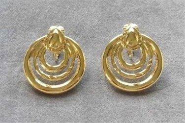 Gold Triple Hoop Circles Clip On Earrings Vintage 1980s