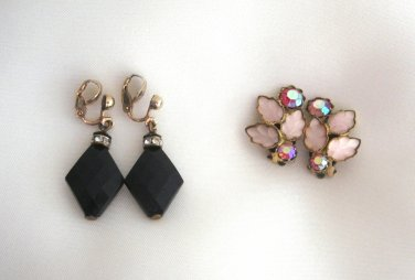 West Germany Clip On Earrings Pink Aurora Borealis Stones & Black Beads Retro 2 Pair Vintage 1950s