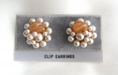 Peach Beaded Clip On Earrings Peachy Pearl Retro Japan Vintage 1950s
