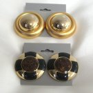 Chunky Style Large Gold Black & Brown Clip On Earring Retro 1980s Vintage 2 Pair