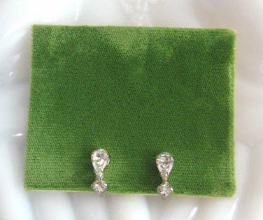 Sparkly Pear Cut Rhinestone Screw Back Earrings Retro Vintage 1950s
