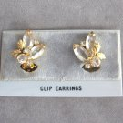 Marquise Shaped Rhinestone Gold Leaf Clip On Earrings Vintage 1950s