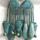 Large Turquoise Color Dangle Style Earrings Retro Vintage 1980s