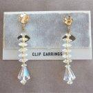 Sparkly Crystal Aurora Borealis Beaded Dangle Clip On Earrings Vintage 1950s