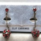 Multi Red Stone Cluster Dangle Clip On Earrings Vintage 1950s