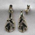 Black Stone Marquise Cut Clip On Earrings Vintage Need Repair 1950s