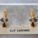 Red Stone Pear Cut Gold Clip On Earrings Designer Avon Vintage 1970s