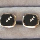 Fancy Scalloped Black Onyx Rhinestone Cufflinks Vintage 1950s