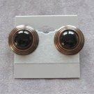 Black Cabochon Copper Pierced Earrings Retro Vintage 1970s