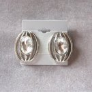 Large Rhinestone Silver Pierced Earrings Vintage 1970s